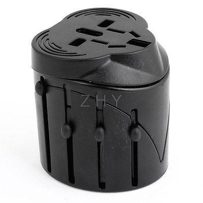 EU UK US AU Plug 100-240VAC All-in-one Adapter Travel Universal Socket Black(China (Mainland))