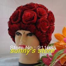 Woman rabbit fur hat rose genuine leather eslpodcast rex hair cap women fox Ear protection R93 QC - Sunny shop store