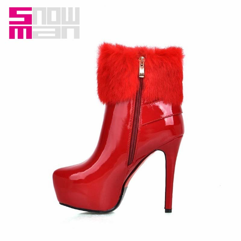 Sexy Fur Woman Winter Boots Women's Shoes Upper Buckle Patent Short Boots Women Boots Thin High Heels Platform Red Bottom Shoes