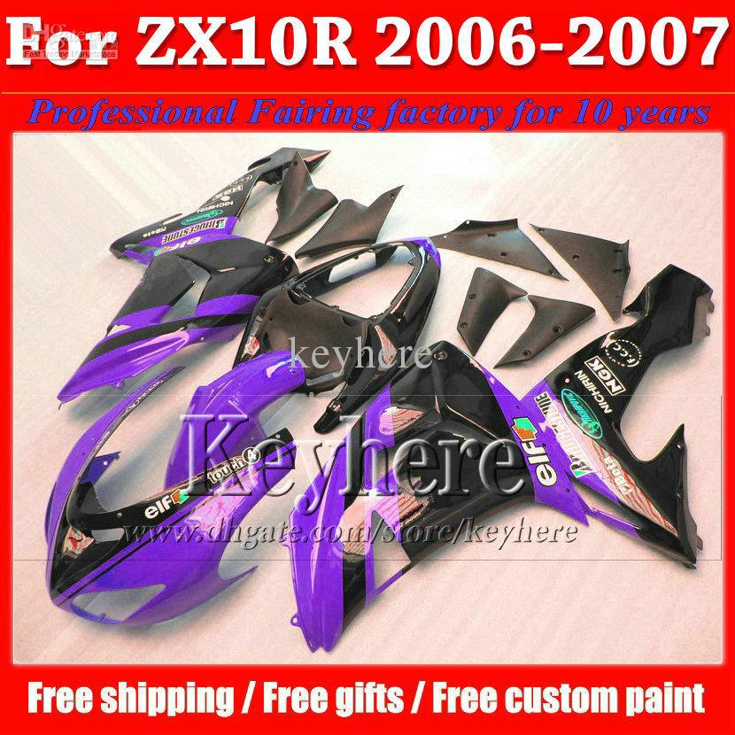 Low price fairing bodykits for Kawasaki ZX-10R ZX10R 2006 2007 Ninja black purple high quality motobike set ZX 10R 06 07 with 7(China (Mainland))