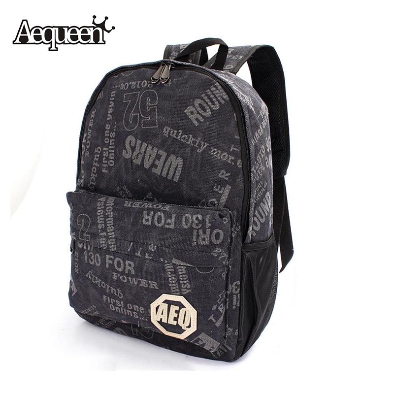 2016 Men Women Canvas Backpacks Letter Pattern Outdoor Travel Unisex Backpack Schoolbag Rucksack Large Capacity Bag Wholesale(China (Mainland))