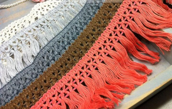 12yards/lot 5cm Wide Cotton Lace Tassel Beige/White/Grey/Black/Coffee Fringe Garment Accessary Lace Tassel for DIY(China (Mainland))