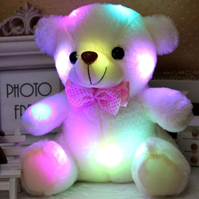 Colorful LED Flash Light Bear Doll Plush Stuffed Toys Size 20-22 cm Bear Gift For Children Christmas Gift Stuffed & Plush #45(China (Mainland))