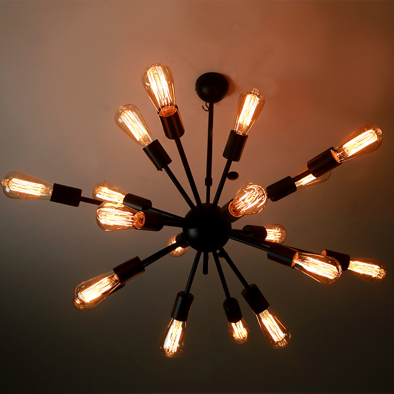 Loft Vintage Industrial Fixture Retro Pendant Ceiling Chandelier Lamp 18 Light Painted Finish Cafe Bar Coffee Shop Store Club - Golden lighting Online 409246 store