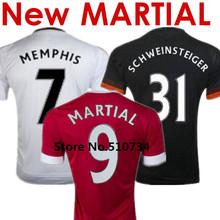 2016 Soccer Jersey Anthony Martial 15 16 Memphis Depay Mata Bastian Schweinsteiger Home Red Away White Black Football Shirts Kit(China (Mainland))