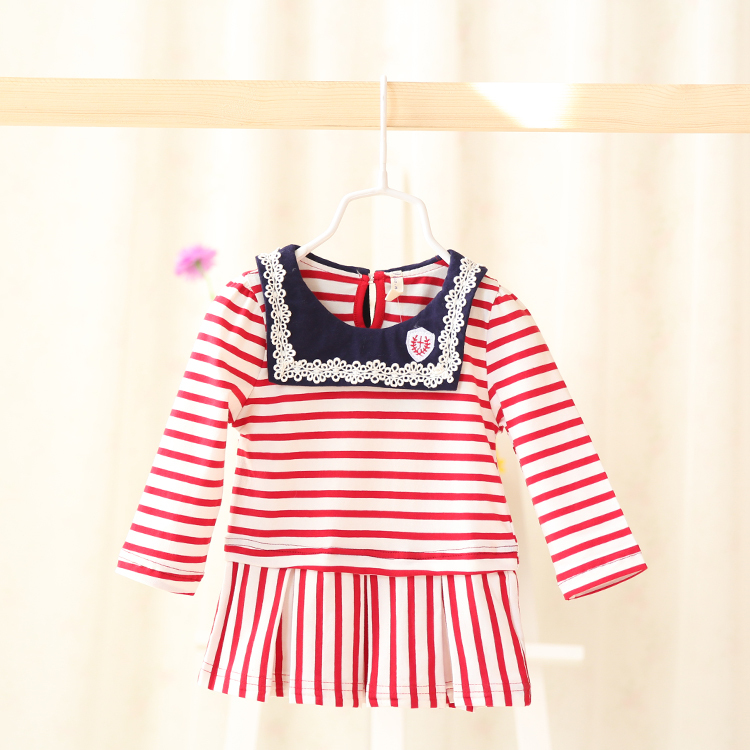 2015 New spring,baby girls striped princess dress,children navy style dress,long sleeve,lace,2 colors,5 pcs/lot,wholesale,2218<br><br>Aliexpress