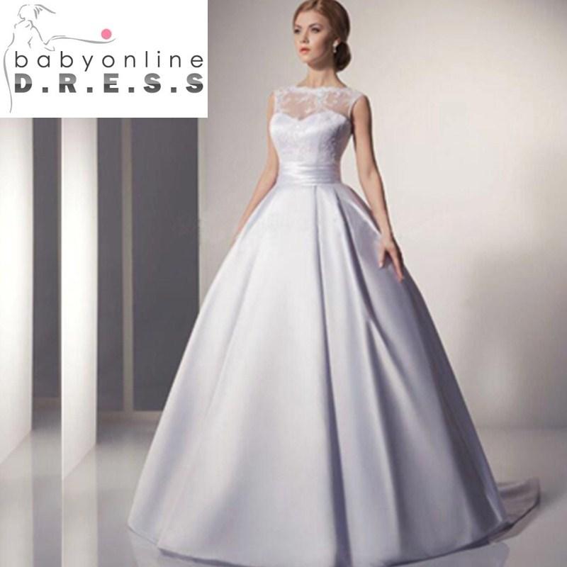 Vestidos De Novia High Quality Romantic Illusion Neckline White Lace Long Ball Gown Wedding Dress 2017 Wedding Gown(China (Mainland))