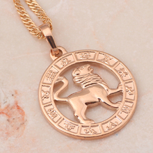 12 Constellation Round Leo design glittering Necklace 18K yellow gold plated Fashion Jewelry Necklace & Pendants LN451