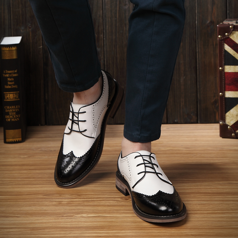 Fashion Men Flats Genuine leather Brogue Shoes Color block Carved Oxfords shoes Vintage Male shoes Free shipping 07(China (Mainland))