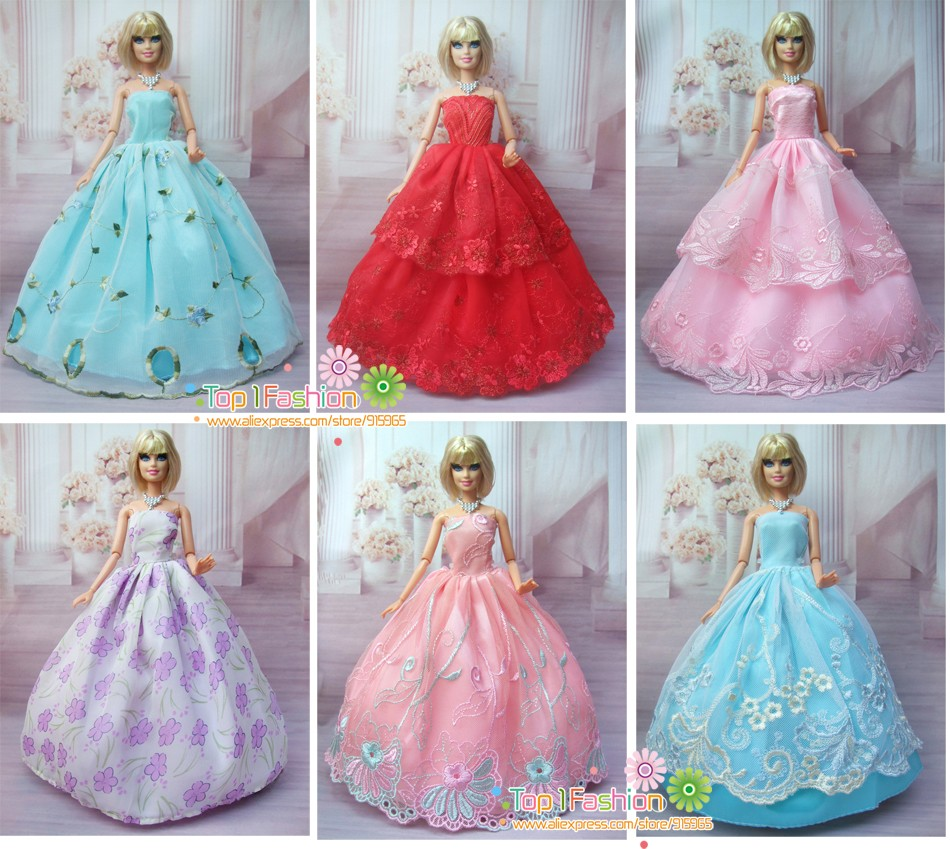 15 Objects = 5 Marriage ceremony Bride Costume Princess Robe + 5 Pairs Sneakers + 5 accent For Barbie Doll Reward Child Toy