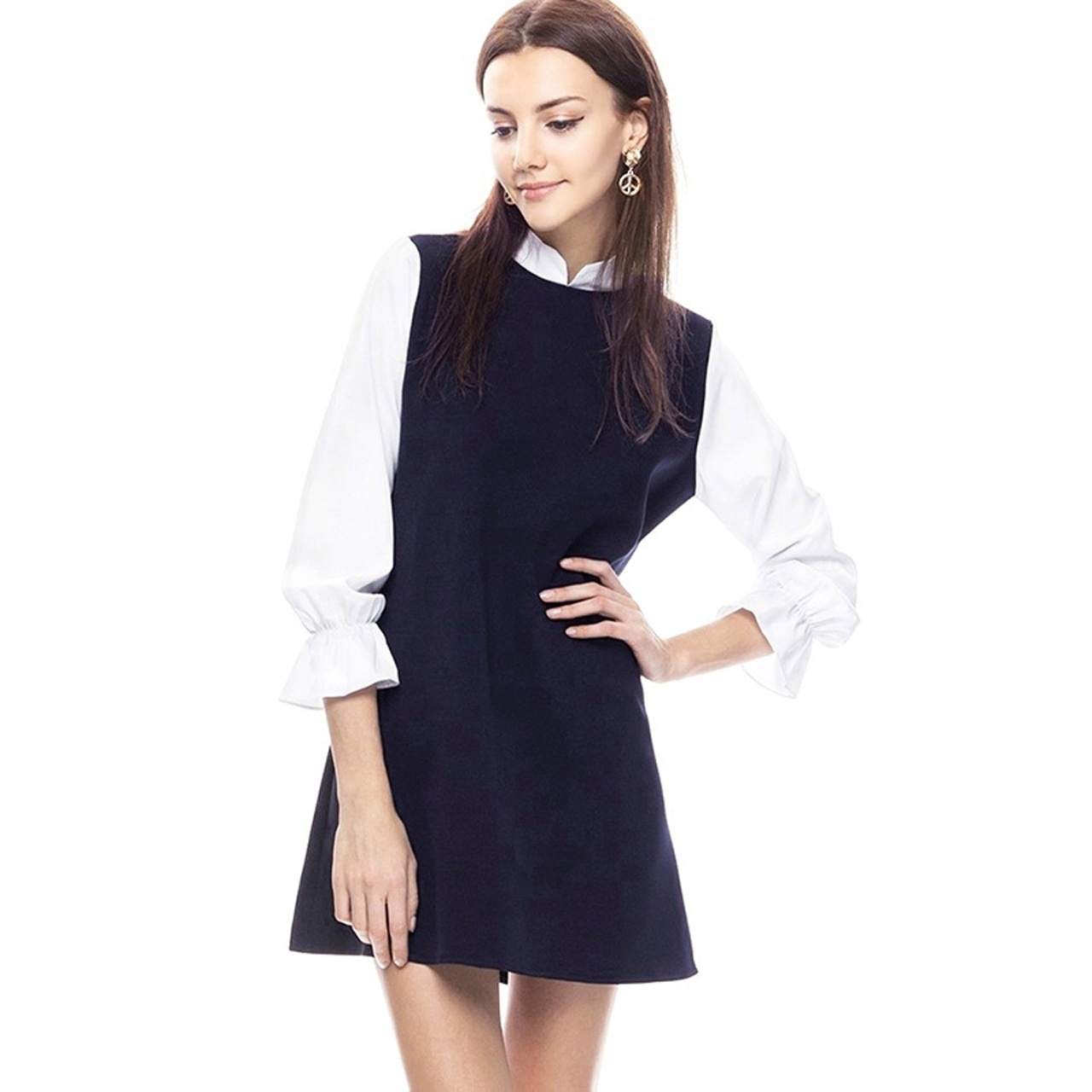 2016 Best Goods Winter New A-line Sweet Women Slim Dress Black Straight Polyester Natural Stand Collar Patchwork A-line Preppy(China (Mainland))