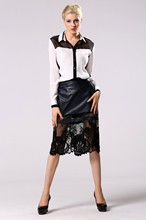 2016 New Women Long Skirt Sexy Lace Hollow Out Pencil Skirt American Apparel Plus Size High Waist Artificial Leather Skirt