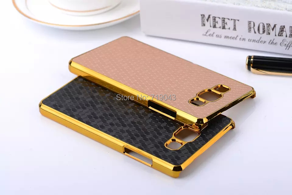 Luxury Retro Style Square Grid Chromed Edge Hard Case Samsung Galaxy A5 A5000 Plastic Mobile Phone Cases Cover  -  March_e-store store