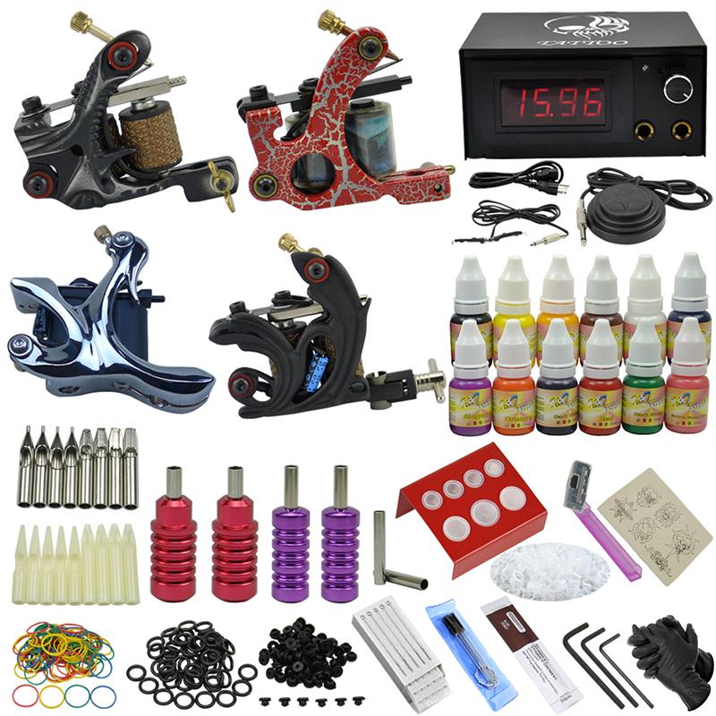 OPHIR 353pcs Complete 4 Dragonfly Rotary Tattoo Machine Guns & 12 Color Tattoo Ink & Needle Tattoo Nozzle Pigment Kits #TA089