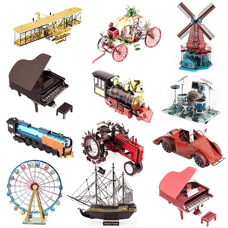 Big Sale!Multi-Style 3D Puzzle Educational Toys Jigsaw Puzzle For Kids Modern Building Metal Stainless Steel DIY Assembly Model(China (Mainland))