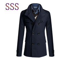 2016New autumn and Winter Fashion Double-breasted Men Trench Coats Long Slim Fashion Men Trench for 4 Colors Choose(China (Mainland))