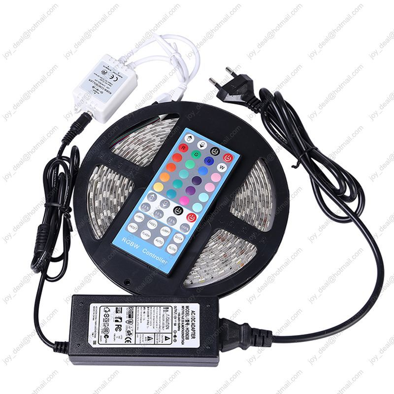 5M RGBW(RGB+White) or RGBWW(RGB+Warm White) IP65 Waterproof DC12V ED Strip + 40Key RGBW Remote Controller + 12V 6A Power Adaptor(China (Mainland))