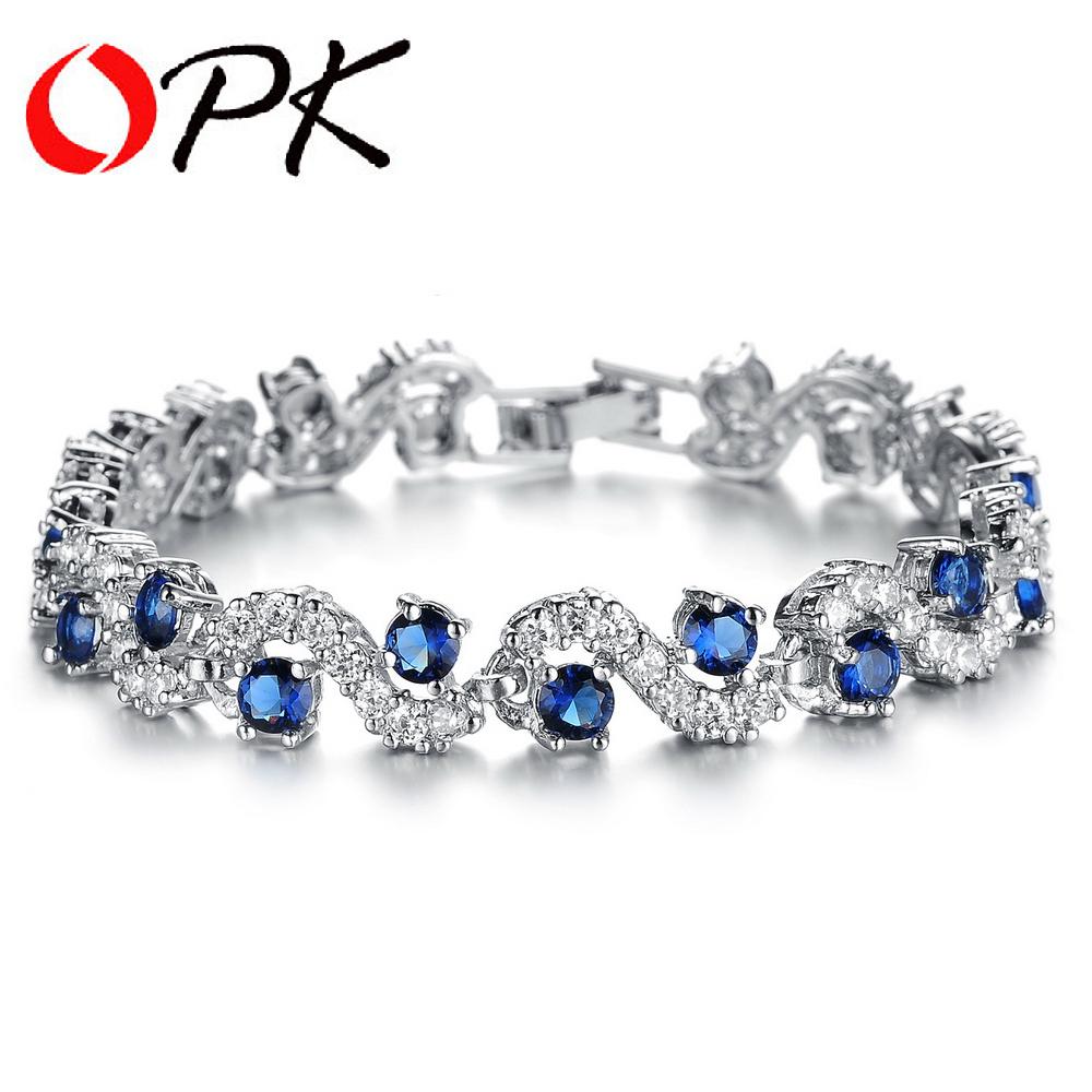 OPK 2016 New Design Women's White / Blue Zircon Bracelet Platinum Plated Shining Banquet Jewelry Romantic Hand Chain, DM931(China (Mainland))