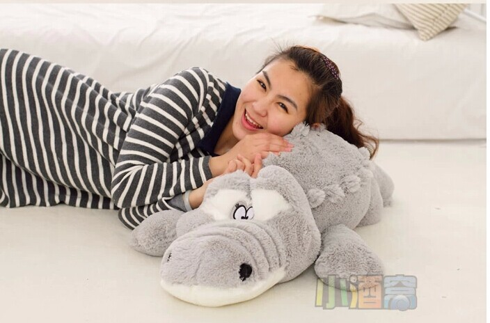 lovely plush gray crocodile toy stuffed cartoon Chinese alligator pillow birthday gift about 65cm(China (Mainland))