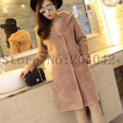 New Winter Women's Mid-long Natural Lamb Fur Coat Slim Real Double-faced Fur Plus Size Jacket With Hood 20150910-2(China (Mainland))