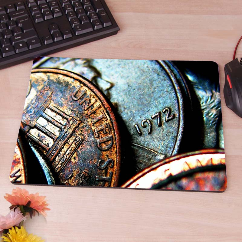 Old Rusty Dollar Coins  Computer Mouse Pad Mousepads Decorate Your Desk Non-Skid Rubber Pad<br><br>Aliexpress