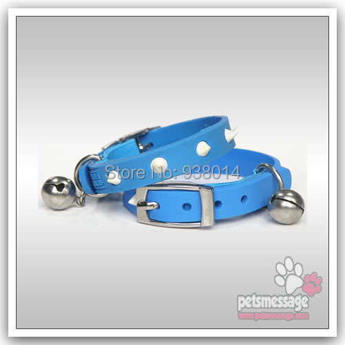 Dog Cat Collars PVC Safty Bell Rubber Leather Fancy X XS MOQ 2 Pink ect 6 colors - ok Store store