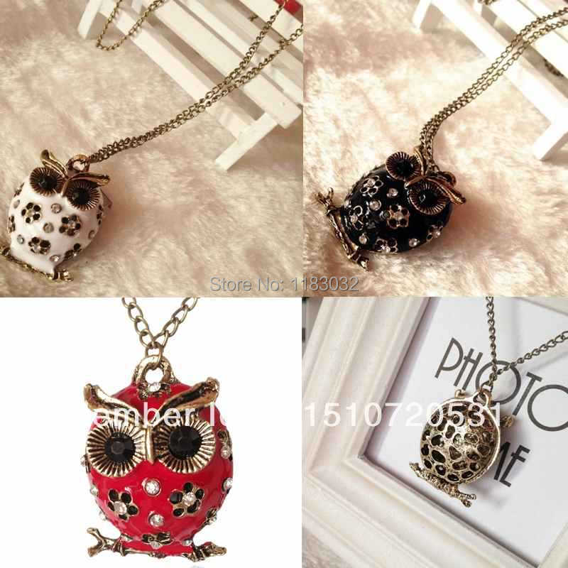 Chains Necklaces The animal Round Enamel Crystal Flower Owl Neckalces for Women Vintage Jewelry HcRSB(China (Mainland))
