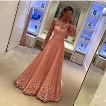 Elegant Pink Lace Evening Dress 2017 Custom Women A-Line Muslim Long Sleeve Vestido De Festa High Quality Evening Gowns(China (Mainland))