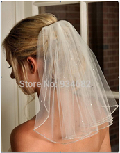 2015 Simple Wedding Veils One Layer Pencil Edge With Sequined Wedding Accessories Short Wedding Veil