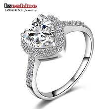 LZESHINE Brand 2015 Christmas Heart Rings Real 18K Gold/Platinum Plated Micro Inlay Zircon Fashion Rings For Lady Anelli CRI0004(China (Mainland))