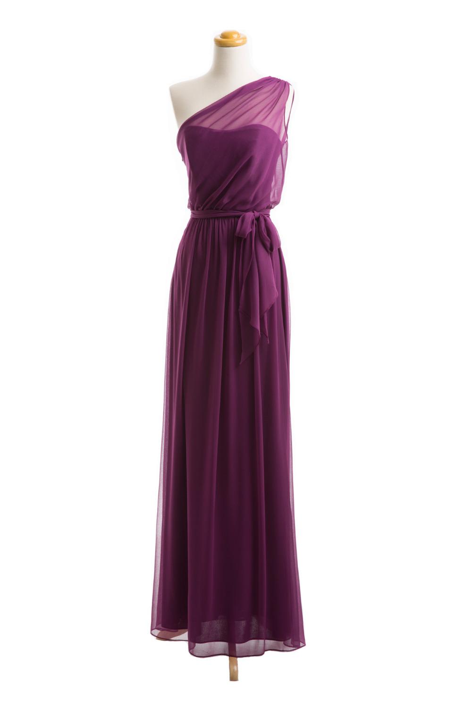 One Shoulder Purple Bridesmaid Dress A Line Long Chiffon ...