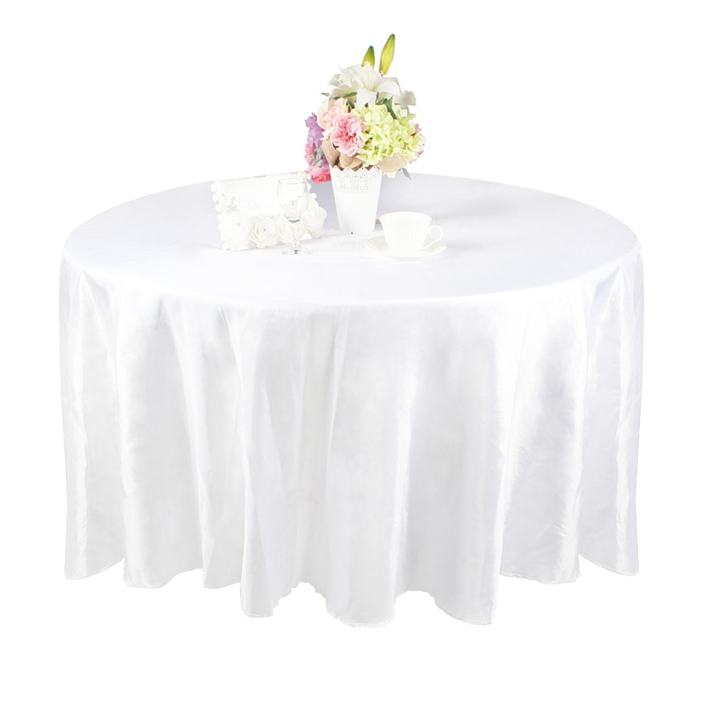 unidslote moderno mantel partido pulgadas de lujo de tafetn blanco mesa redonda cubierta para el banquete de boda decora