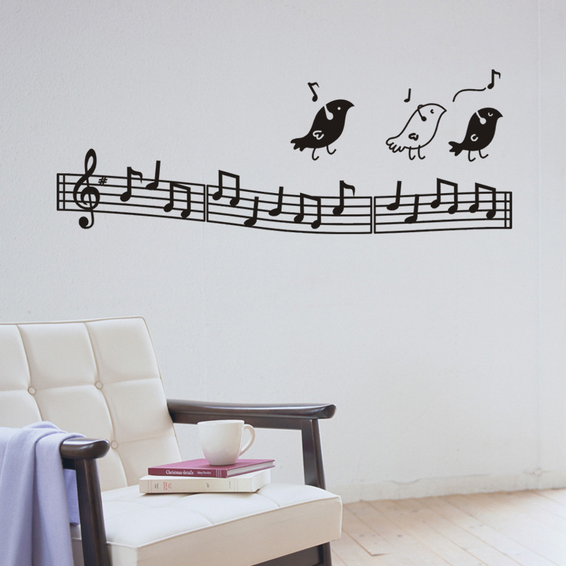 New Removable Muso Wall Stickers Birds Sing Music Notes Children Bedroom musical notation Wall Sticker Home Decor School(China (Mainland))