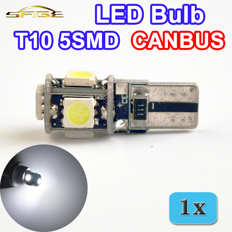 T10 5SMD CANBUS 5050 SMD W5W 194 LED Error Free Car Light Auto Bulb White Color CAN BUS Automotive Lamp(China (Mainland))