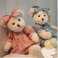 30 cm 2 pieces couple teddy bear with cloth plush teddy bear toy birthday gift