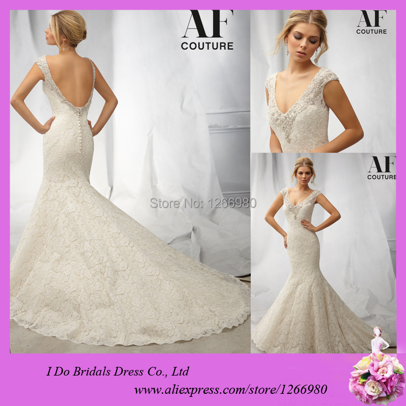 Mermaid V Neck Lace Heavy Beading Pearl Cap Sleeves Sexy Low Back Lace Wedding Dress Patterns Free Shipping Wedding Dress online(China (Mainland))