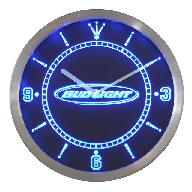 nc0466 Bud Light Beer Neon Sign LED Wall Clock