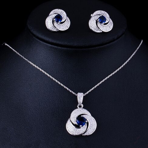 Fashion Flower Necklace Earrings Sets CZ Crystal White Gold jewelry set For Women Girls Party Prom Cocktail Jewel Wholesale<br><br>Aliexpress