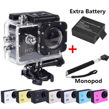 Go pro style Digital Camera Underwater 30M Waterproof Action Sport Extreme Camera DV DVR 1080P HD+Extra Battery+Monopod