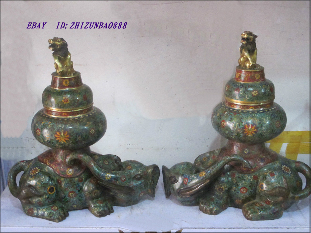 Fine China antiquated TURE Bronze 24K GOLD Cloisonne Elephant Lion Censer PAIR wedding copper Decoration real Brass(China (Mainland))
