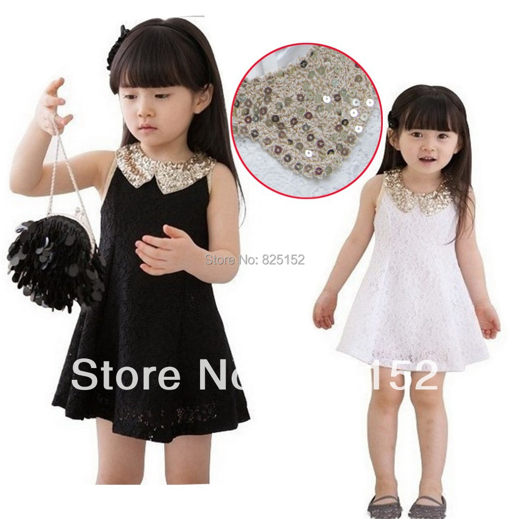 infant baby girls lace dresses children clothing Girls Kids Princess Elegant Party White/Black Lace Bow 1PCS Dress S2-7Y Clothes(China (Mainland))