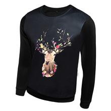 Autumn Men Hoodies New Fashion Women Cartoon Sweatshirts 3D Animal Print Deer Sport Wear Harajuku Long Sleeve Pullover Hoodie(China (Mainland))
