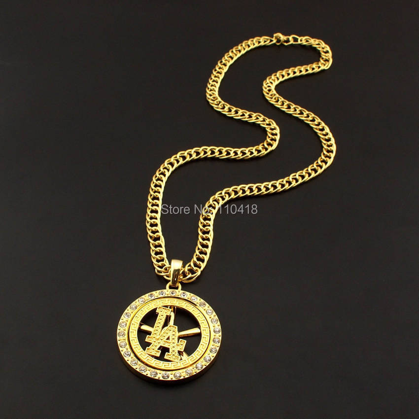 Fashion Hiphop Gold Plated Alloy Rhinestones Basketball LA Rotatable Circular 6cm Pendant 76cm Long Chain Necklace For Women Men(China (Mainland))