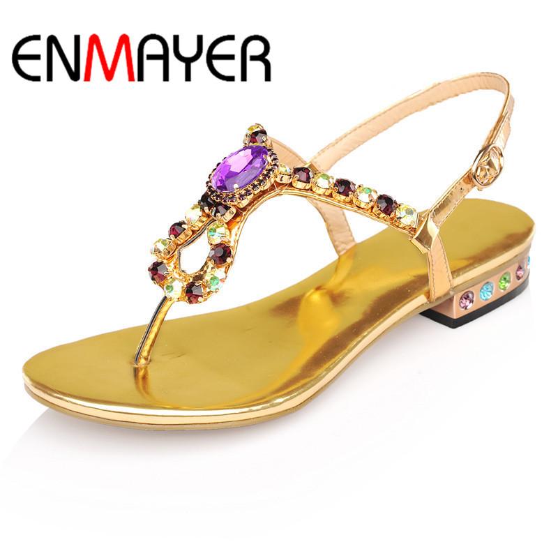 ENMAYER Women Sandals Ankle Strap Flats Summer Women Flip Flops Sandals Fashion Hot Women Bohemia Marketing Beach Slippers(China (Mainland))