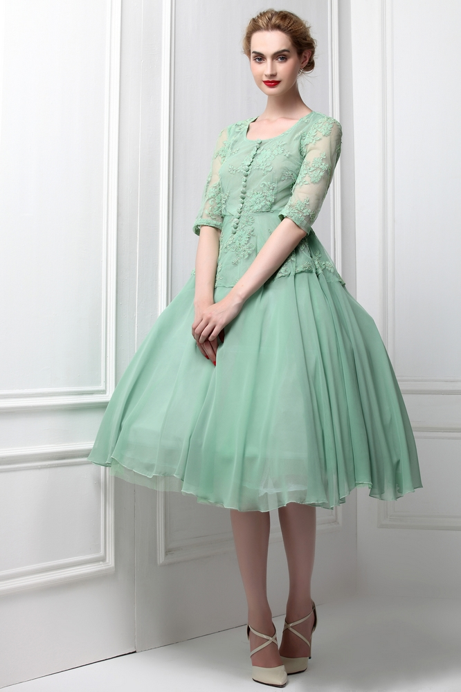 2015 Summer Style My fair Lady Elegant Vintage Women Green French Lace Embroidered Slim Dress High Quality Women's Clothing(China (Mainland))