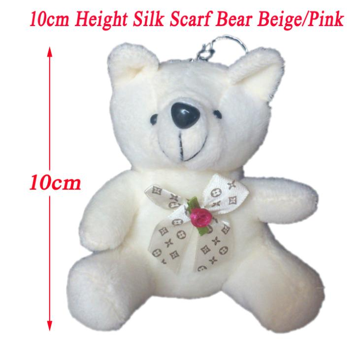 <15pcs/Lot H=10cm> Fashion Pendant Plush Pink/Beige Teddy Bear Pendants With Silk Bow For Keychain/Bouquet/Phone/Bag Plush Doll(China (Mainland))