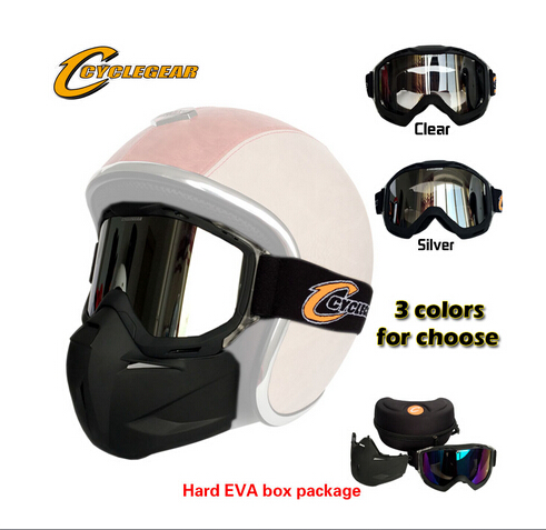 High Quality Cyclegear Motorcycle Mask Motocross Detachable Goggles Perfect For Open Face Capacetes Casco or Vintage Helmets(China (Mainland))