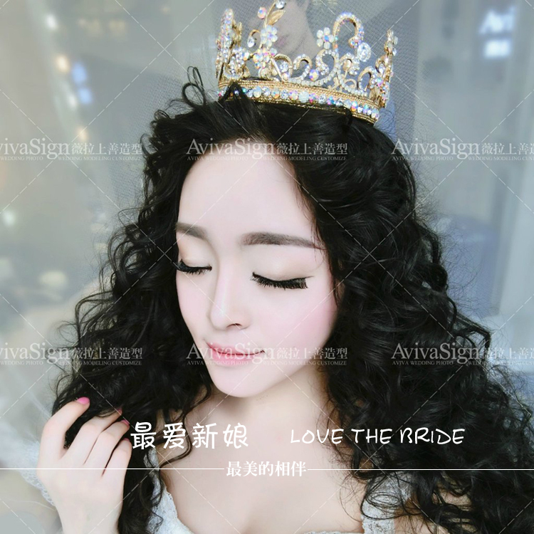 Baroque golden crown bridal hair jewelry rhinstone round bridal tiara princess wedding hair accessories Wedding Hair Accessories()