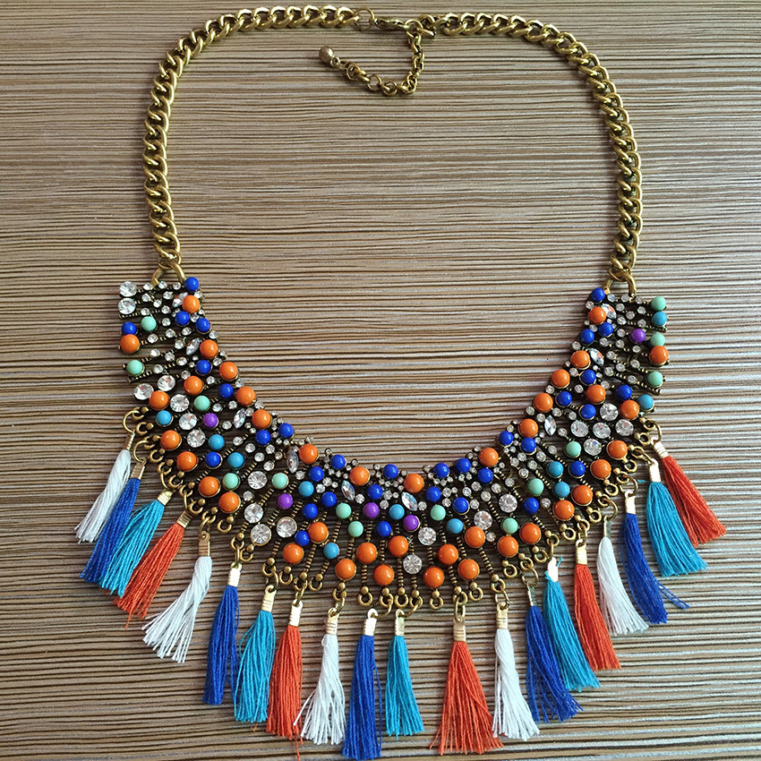 2015 New Bohemia Style Rainbow Rhinestone Statement Necklace Rope Chain Tassel Crystal Choker Bib Necklaces Pendants Lady Jewel(China (Mainland))