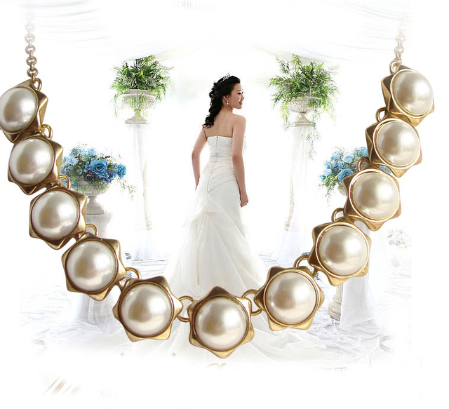 Statement Necklace Elegant Gold-Plated Chaim White Pearl Bead Collar Necklace Jewelry For Women Collier Femme N279